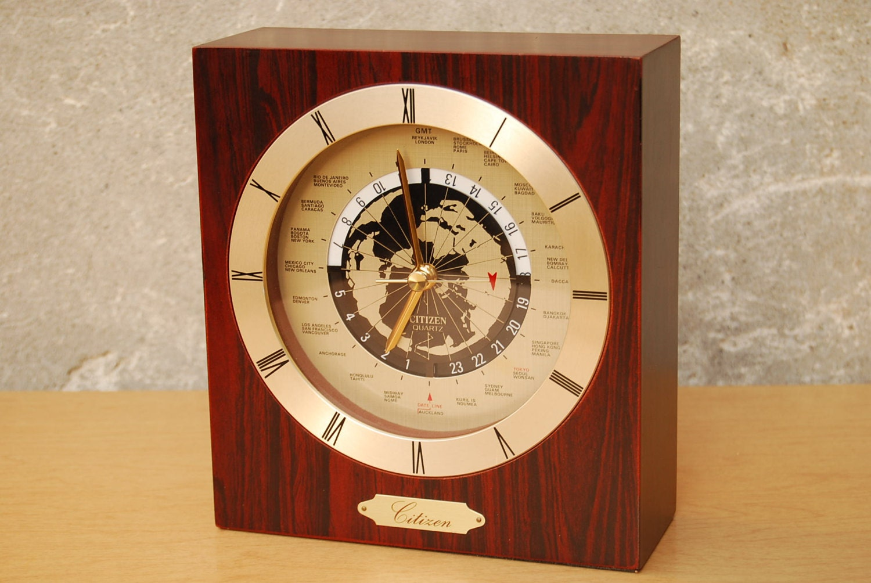 Citizen square wood world desk clock mid century modern