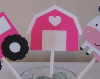 12 Hot Pink Farm Themed cupcake Toppers