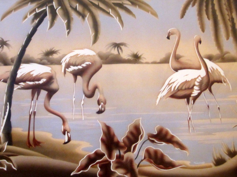 1950s Turner Flamingo Art Mirrored Frame Tiki Retro Mirror