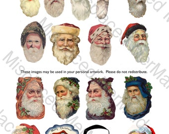 Vintage Santa Claus Head Digital Collage Sheet