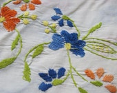 Beautiful Tablecloth Embroidered white blue orange Large