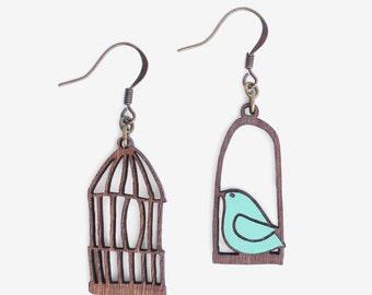 Bird outside the cage- earrings Ahoy Aqua