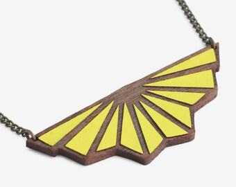 Origami necklace Art Deco Lemon