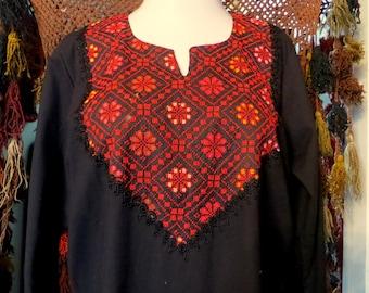 SALE Vintage  Long Black Embroidered Bedouin Dress