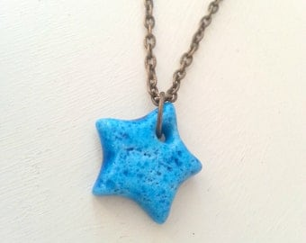 Persian donkey bead ceramic necklace - Blue ceramic star necklace - One of a kind