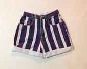 "high waisted shorts, denim shorts, jean shorts, 90s striped shorts, womens xs 24"" 0 -2"