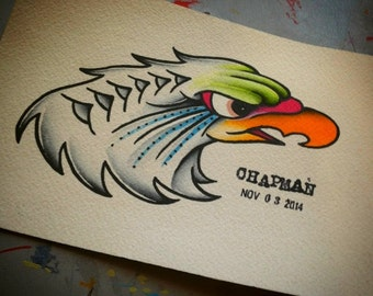 Eagle Head Traditional Tattoo Flash