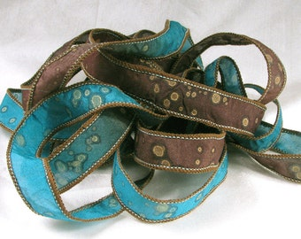 Silk Ribbons - Hand Dyed Painted Silk Art  - Jewelry Bracelet Wrist Wrap - Turquoise and Leather Sparkle