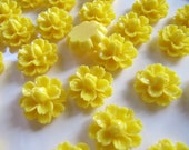Resin Flower CABOCHONS in Yellow, 8 Pieces, 14mm, Flat Back, No Hole, For DIY Jewelry, Rings, Hair Pins and Pendants