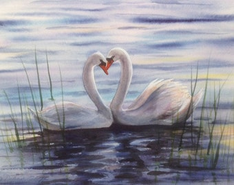 Swan Love, Watercolor Print, Swans, Lake, Blue, Sunset, Heart