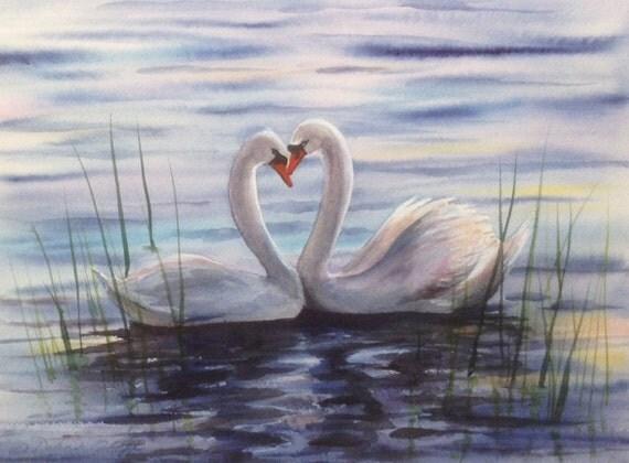 Swan Love Watercolor Print Swans Lake Blue Sunset Heart