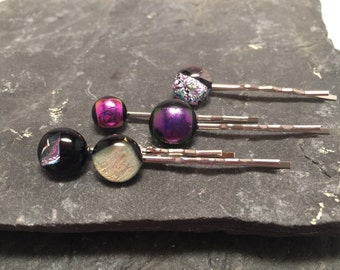 Fused Dichroic Glass Bobby Pins, Dichroic Bobby Pins, Glass Hairclips, Dichroic Hairclips set of 5