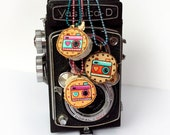 Handpainted Camera Wood Slice Necklace, Photographer Necklace, Tiny art,