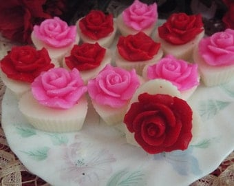 TART MELTS - 12 Beautiful Highly Scented Heart Cupcake Tarts w/ Roses - Your Choice of Color and Fragrance