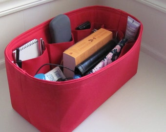 Fits LV Neverfull GM .....Purse Insert Organizer  Shaper.... Water RESISTANT Red Canvas..  . Strong/Durable (14.5x7x7)