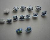 Vintage Buttons Teapots TeaCups  Saucers 14 Buttons Plastic Shank Back 2014