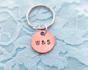 Initials penny- lucky hand stamped keychain