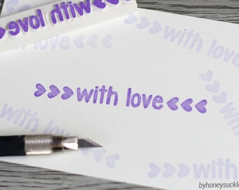 with love stamp, hand carved rubber stamp, handmade with love, handmade stamp, wedding stamp, gift wrapping idea, packaging stamp