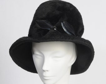 1960's Black Wool Fur Hat with Feathers