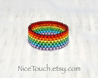 SUMMER SALE!!! Free Shipping or Save 20% ~ Little Rainbow woven glass novelty peyote beaded ring ~ Made to Order