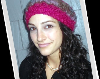 Magical Changes Fuschia Crochet Slouch Beret Style Hat- Spellbound