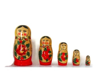 5 Vintage Russian Matryoshka Stacking Dolls from USSR at Montreal Expo 67.