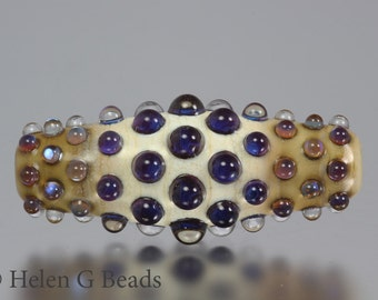 Bumpy, Lampwork Bicone Bead in Purple and Ivory by Helen Gorick
