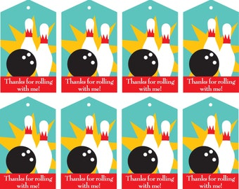 INSTANT DOWNLOAD Printable Bowling Party Favor Thank You Tags