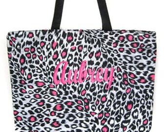 PERSONALIZED Large Pink Cheetah Print Book Bag Shopper Tote