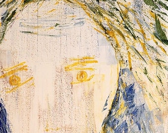 Original outsider art painting. Large original painting 70x100cm (27.5x40in.) portrait of a woman, acrylic on paper