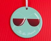 Christmas Ornament - Wine Lover Christmas Ornament -Wine Christmas Ornament - Funny Gag Gift Cocktail ornament - Tis The Season - co79