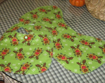Infant Bib With Matching Burping Cloth Reindeers