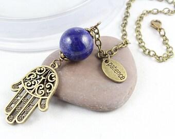 Healing Hand Car Charm, Lapis Lazuli, Hamsa, Car Accessories, Rear View Mirror Charm, Hamsa, Car Decoration, Hand of Fatima, Yoga Style