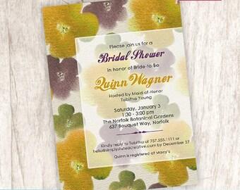 Bridal Shower Invitation, Elegant Flower Shower Invite, Rustic Bridal - DiY Printable, Print Service Available || Blooming Watercolor Canvas