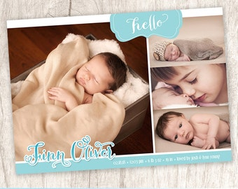 Hello Ombre Blue Baby Boy Photo Announcement, Baby Boys Birth Collage Announcement - DiY Printable, Print Service Available || A Blue Hello