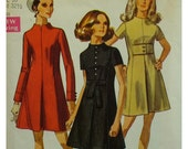 "60s Funnel Neck Dress, A-LIne, Front Pleat, Princess Seams,  Long/Short Sleeves, Button Trim Cuffs, Simplicity No. 8341 Size 10 Bust 32.5"""