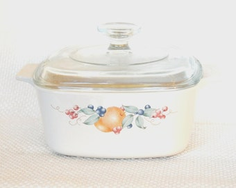 Vintage Corning Ware A 1 1/2 B Covered Casserole ABUNDANCE 1.5 Liter with Pyrex Lid
