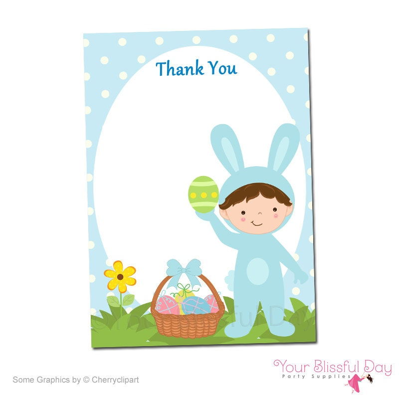 printable boy easter bunny thank you cards by yourblissfulday