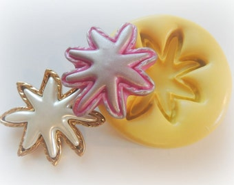 Flower Star Cabochon Flower Mold Polymer Clay Flowers Cabochon Mold Resin Clay Mould