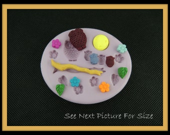 Silicone Mold Owl Branch Flower Fondant Resin Charm Mold Soap Embed Mold Wax Melt Mold