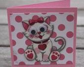 Childrens Valentine notecards, Animal Valentines, Kids Valentines; Cat & Dog Valentine