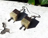 Soapstone Earrings -- Gradient Earrings -- Hematite Silver Plated -- Square Geometric -- Two Toned