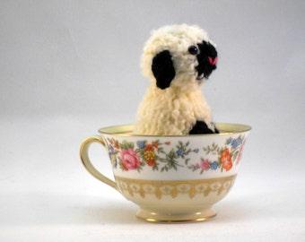 Hand Knit Black and White Plush Sheep Lamb Ready To Ship