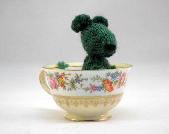 Hand Knit Green Mouse Ready To Ship