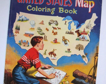 vintage United States map coloring book 1955 never used