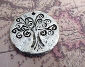 Tree of Life Disc Coin Charm Pendant - Antique Silver Pewter - 25mm - Spiritual - Religious - Zen - Metaphysical - Central Coast Charms