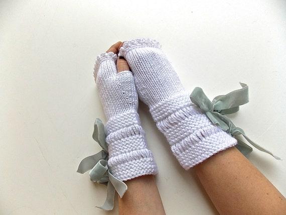 White Knitted Fingerless Gloves, Mittens or Wrist Warmers, Grey Velvet Ribbon Bow Ties