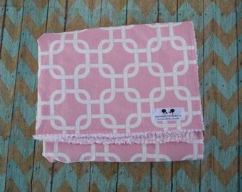 Chenille Baby Blanket - Pink Geometric Baby Gift  - Designer Blanket