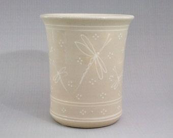 Large Kitchen Spoon Holder - Wine Caddy- Vase  Stoneware White Dragonfly