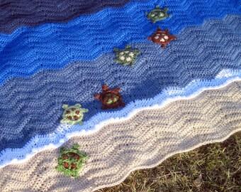 Hand Crocheted Swimming Turtles Baby Blanket